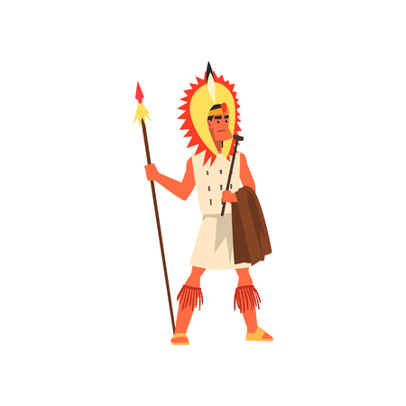 Armed tribal male warrior in traditional clothing and headdress with spear vector Illustration on a white background