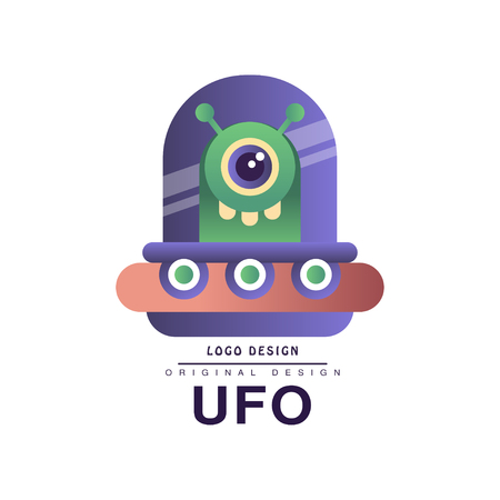 Ufo   original design, badge with flying saucer vector Illustration on a white background Vettoriali