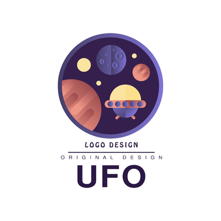 Ufo  original design, badge with planets and spaceship vector Illustration on a white background