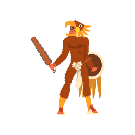Armed tribal male warrior in animal hide and skull headdress, tribe member in traditional clothing with weapon vector Illustration on a white background