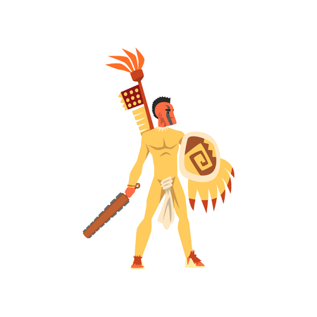 Armed tribal male warrior in traditional clothing and headdress with weapon vector Illustration on a white background