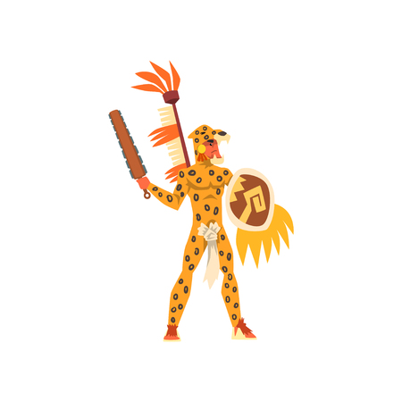 Armed tribal male warrior in leopard hide and skull headdress, tribe member in traditional clothing with weapon vector Illustration on a white background
