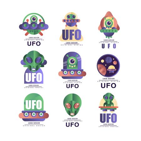 Ufo  original design set, emblem with alien and saucer vector Illustrations on a white background Illustration