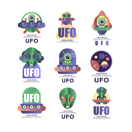Ufo  original design set, emblem with alien and saucer vector Illustrations on a white background Illustration