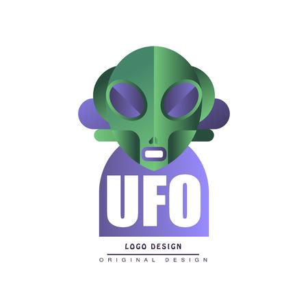 Ufo original design, badge with alien vector Illustration on a white background