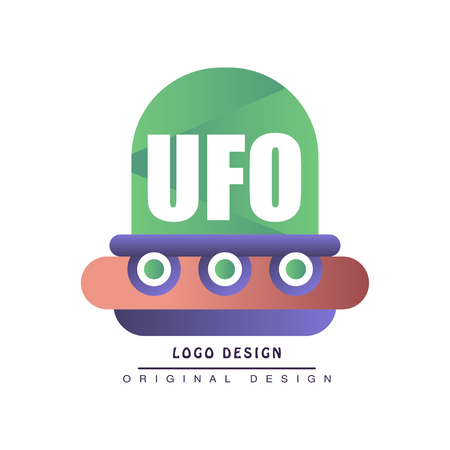 Ufo design, label with flying saucer vector Illustration on a white background