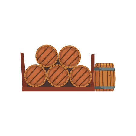 Wooden barrels, winery production process vector Illustration on a white background