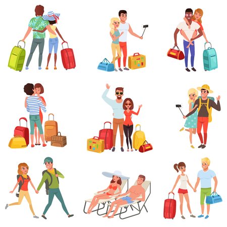 People traveling set, family couple with luggage on vacation vector Illustrations on a white background Vettoriali
