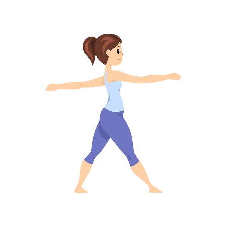 Beautiful woman standing in hero pose, girl practicing yoga vector Illustration on a white background