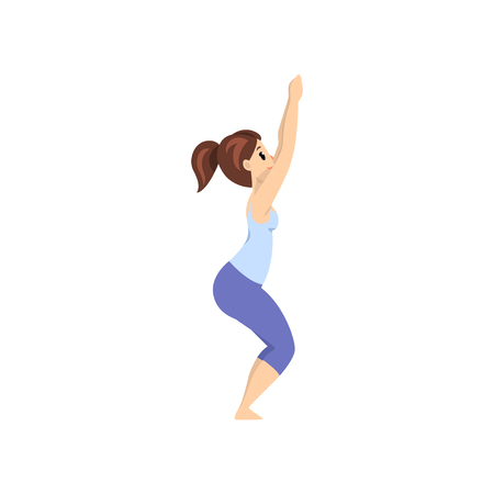 Beautiful woman standing in ustkatasana pose, girl practicing yoga vector Illustration on a white background Illustration