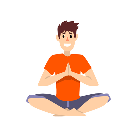 Man sitting in salutation lotus pose, young man practicing yoga vector Illustration on a white background