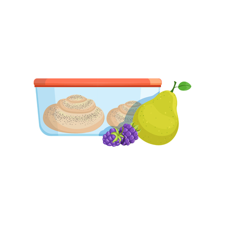 Lunch box with biscuits, pear and blackberries, healthy food for kids and students vector Illustration on a white background