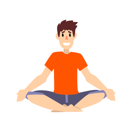 Man sitting in lotus pose, young man practicing yoga vector Illustration on a white background Illustration