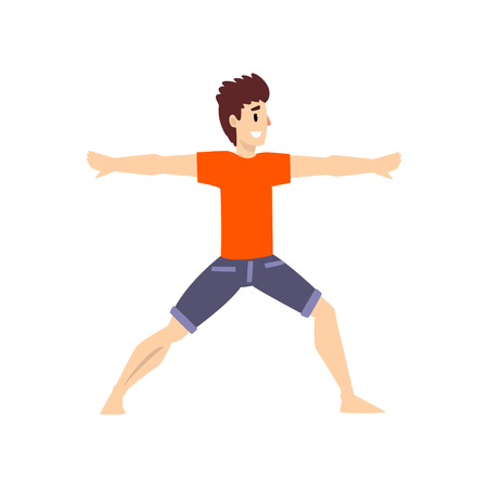 Man in virbhadrasana pose, young man practicing yoga vector Illustration on a white background