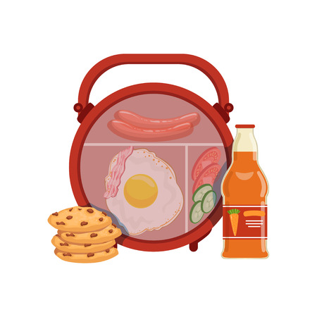 Lunch box with egg, sausage, vegetables, cookie and bottle of juice, healthy food for kids and students vector Illustration on a white background
