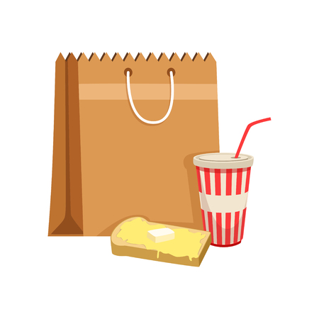 Paper bag with soda drink and sandwich vector Illustration on a white background Çizim