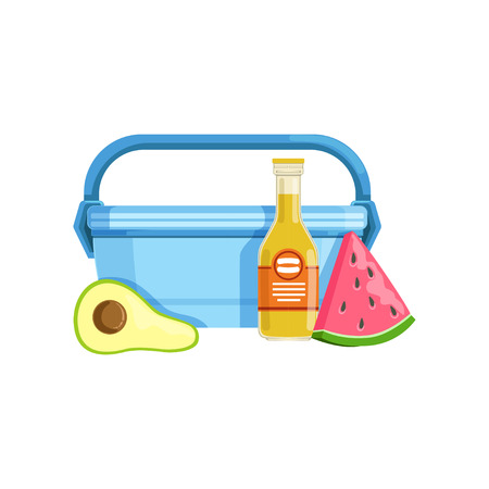 Lunch box with avocado, watermelon and bottle of juice, healthy food for kids and students vector Illustration on a white background