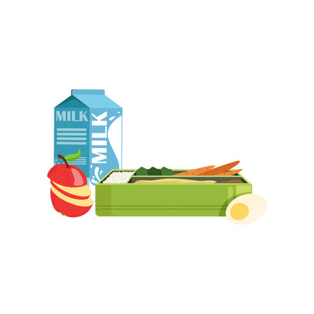 Lunch box with apple, carrot, egg and milk, healthy food for kids and students vector Illustration on a white background Illustration