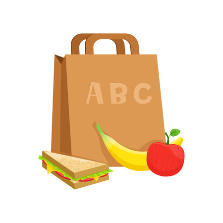 Paper bag with sandwich, banana and apple, school lunch box, food for kids and students vector Illustration on a white background Çizim