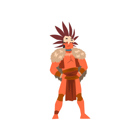 Armed tribal male warriors set, tribe members in traditional clothing vector Illustrations isolated on a white background.