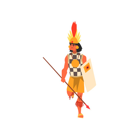 Armed tribal male warrior in traditional clothing and headdress with spear and shield vector Illustration on a white background 일러스트
