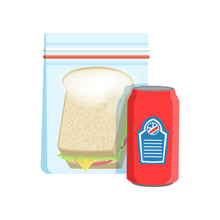 Plastic bag with soda drink and sandwich vector Illustration on a white background