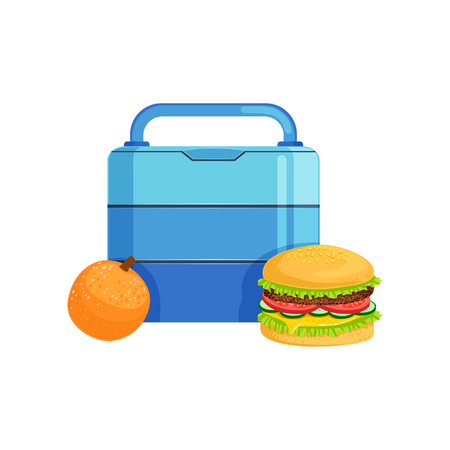 Lunch box with burger and orange, food for kids and students vector Illustration on a white background