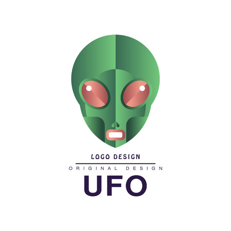 Ufo  original design, badge with alien head vector Illustration on a white background Stock Vector - 102360224