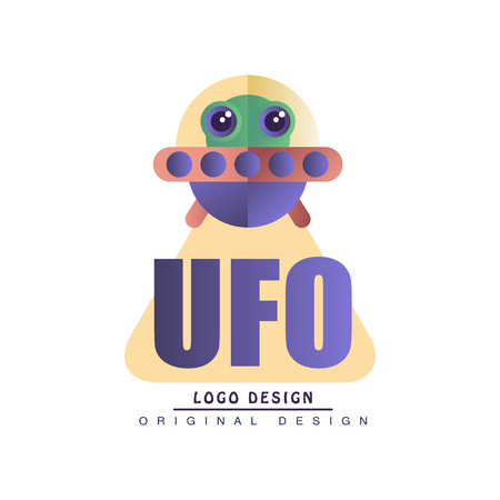 Ufo  original design, badge with alien spaceship vector Illustration on a white background Illustration