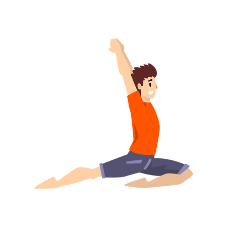 Man in anjaneyasana pose, young man practicing yoga vector Illustration on a white background