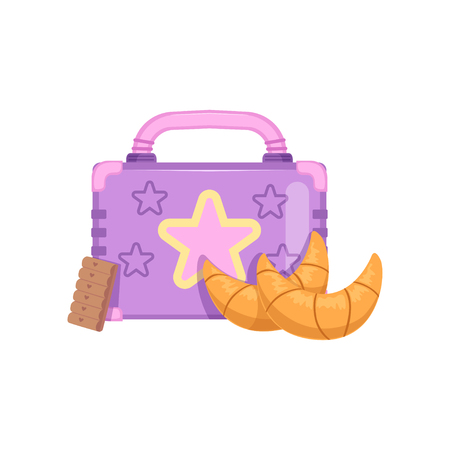 Lunch box with cookie and croissants, healthy food for kids and students vector Illustration on a white background Illustration