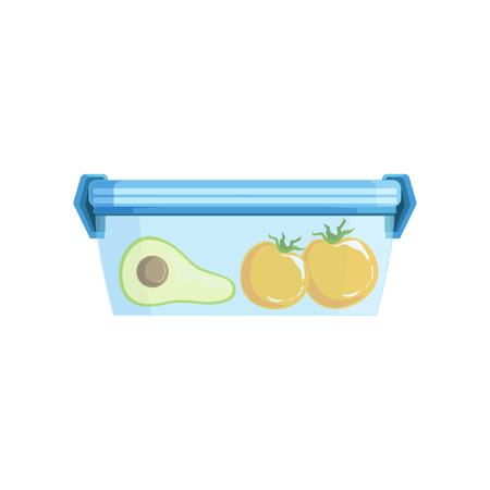 Lunch box with avocato and tomatoes, healthy food for kids and students vector Illustration on a white background