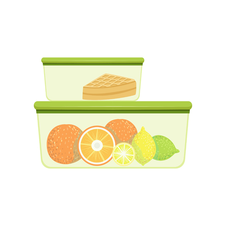 Lunch boxes with oranges, lemons and pie, healthy food for kids and students vector Illustration on a white background Çizim