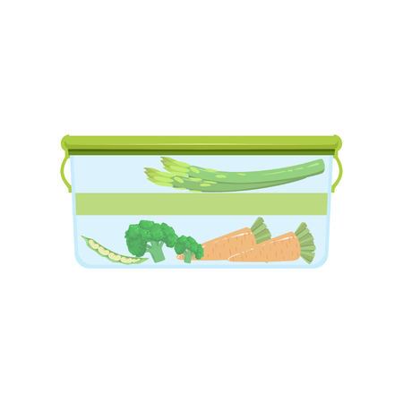 Lunch box with vegetables, healthy food for kids and students vector Illustration on a white background