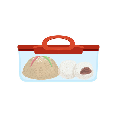 Lunch box with food for kids and students vector Illustration on a white background
