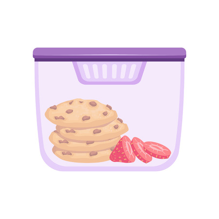 Lunch box with cookie and strawberry, healthy food for kids and students vector Illustration on a white background
