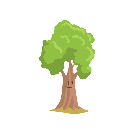 Cartoon park tree with smiling face expression. Forest plant. Natural landscape element. Flat vector illustration
