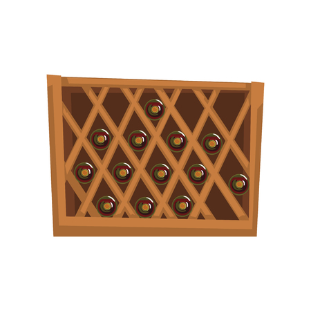 Red wine bottles stacked on wooden racks, winery production process vector Illustration on a white background