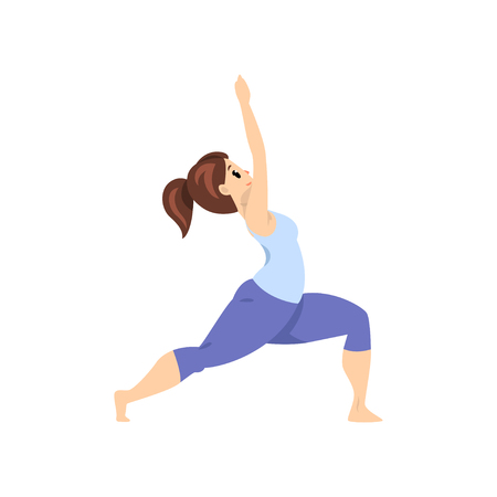 Beautiful woman standing in warrior pose, girl practicing yoga vector Illustration on a white background
