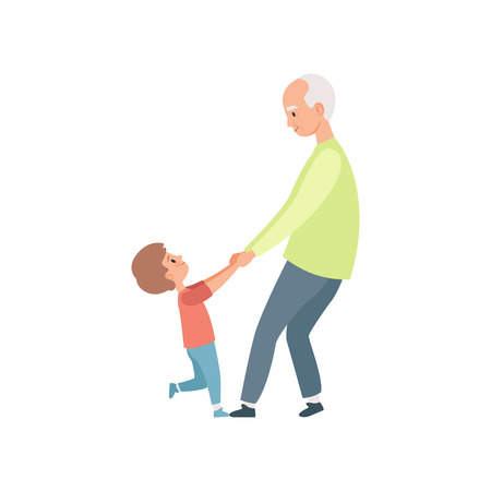 Grandpa and his little grandson holding hands, grandmother spending time playing with grandson vector Illustration on a white background