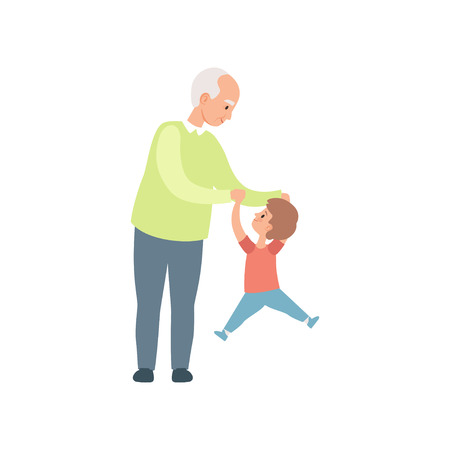Grandpa and his little grandson having fun together, grandfather spending time playing with grandson vector Illustration on a white background Illustration