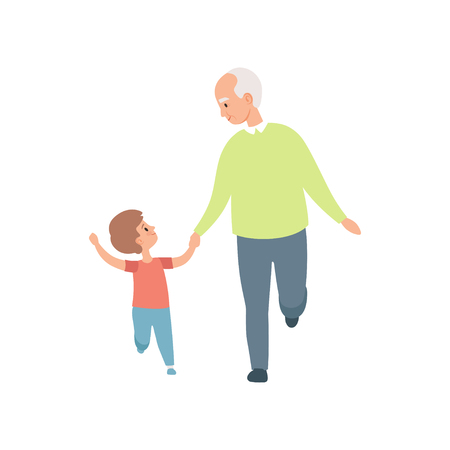 Grandpa walking with his little grandson, grandfather spending time playing with grandson vector Illustration on a white background