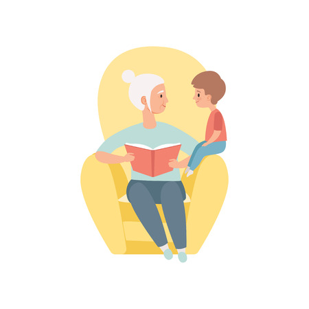 Grandma sitting and reading book to her little grandson, grandmother spending time playing with grandson vector Illustration on a white background