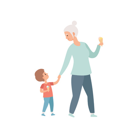 Grandma walking with her little grandson, grandfather spending time playing with grandson vector Illustration on a white background