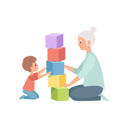 Granny and her little grandson sitting on the floor and playing with toy cubes, grandmother spending time playing with grandson vector Illustration on a white background Vectores
