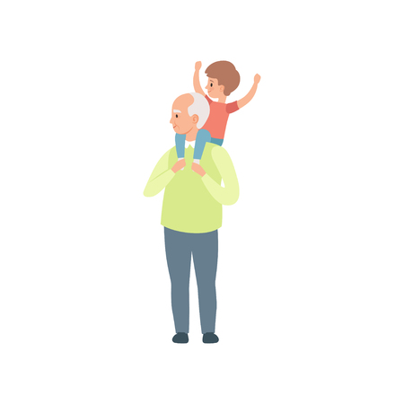 Grandpa carrying little grandson on his shoulders, grandfather spending time playing with grandson vector Illustration on a white background Illustration