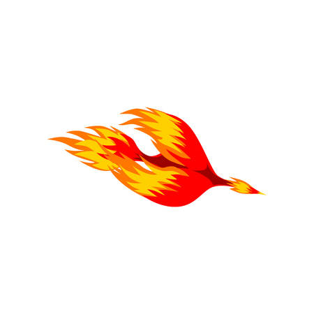 Mythical phoenix fire bird vector Illustration isolated on a white background
