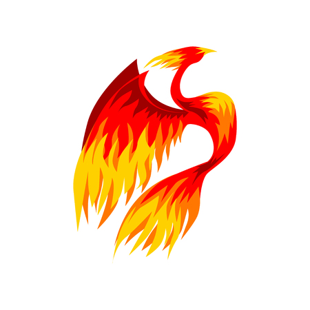 Phoenix bird, fairy firebird vector Illustration isolated on a white background