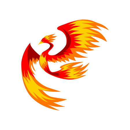Flaming phoenix bird flying, bright mythical firebird vector Illustration on a white background