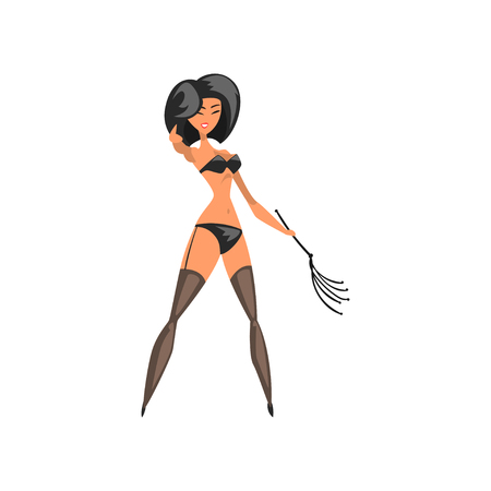 Pretty brunette mistress wearing in bdsm style standing with whip vector Illustration on a white background